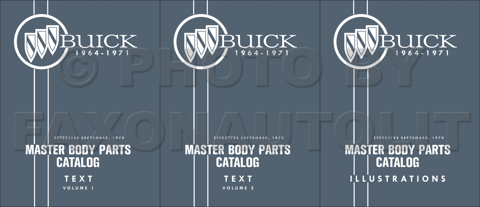 1964-1971 Buick Master Body Parts Book Reprint--All Models 3 Volume Set