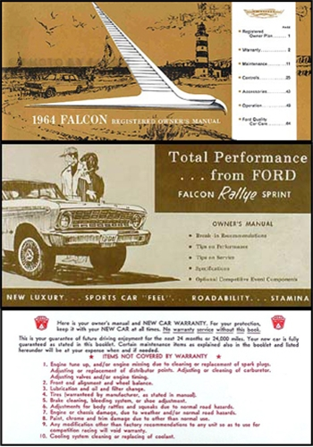 1964 Ford Falcon Rallye Sprint Owner's Manual Reprint Set