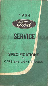 1964 Ford Specifications Manual Original