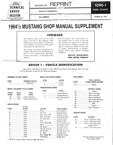 1964 1/2 Ford Mustang Supplement Repair Manual Reprint