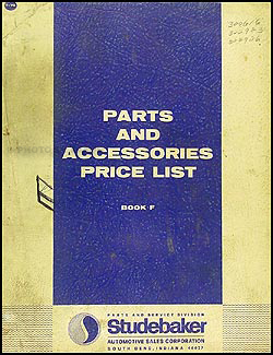 1959-1964 Studebaker Parts & Accessories Price List Original