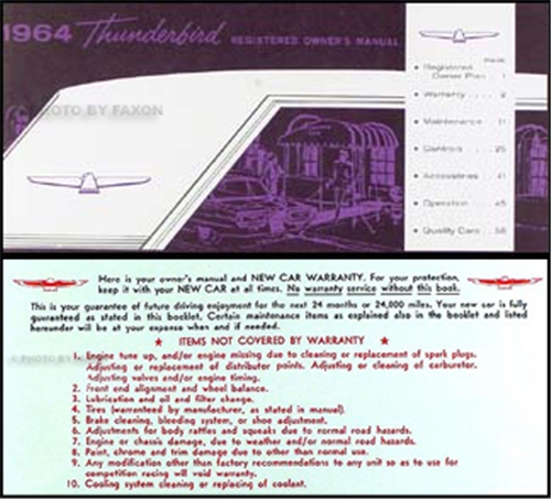 1964 Ford Thunderbird Wiring Diagram Manual Reprint
