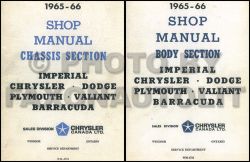 1965-1966 Dodge Chrysler Plymouth Repair Shop Manual Reprint Set Canadian
