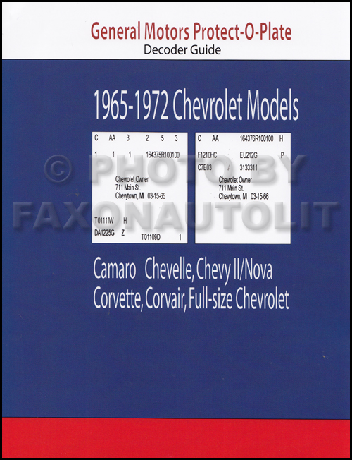 1965-1972 Chevrolet Car Protect-O-Plate Decoder -- All Models