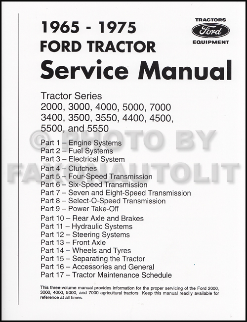 1965-1975 Ford Tractor Repair Shop Manual Reprint 2000 3000 4000 5000 7000