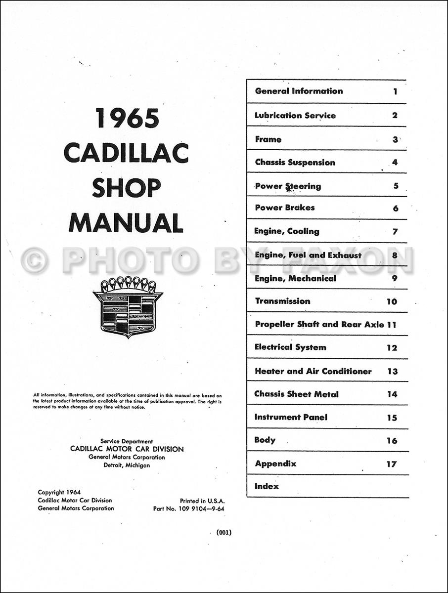 1965 cadillac repair shop manual original 1965 chevelle wiring diagram table of contents