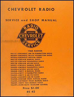 1965 Chevy Radio Manual Original Car, Corvette & Truck
