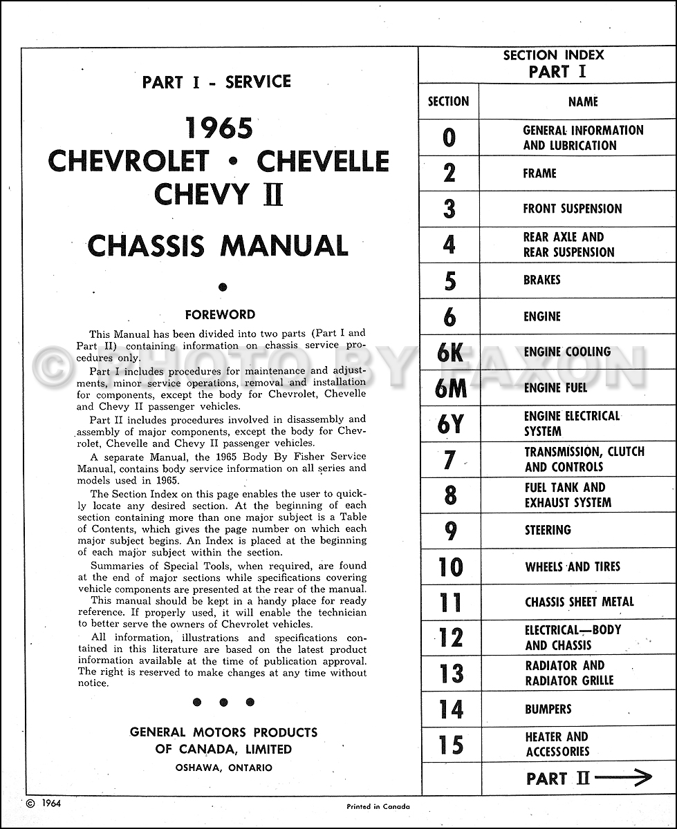 1965 Chevy Repair Shop Manual Original Canadian Impala Caprice 65 Malibu Engine Wiring Diagram Table Of Contents Service Section