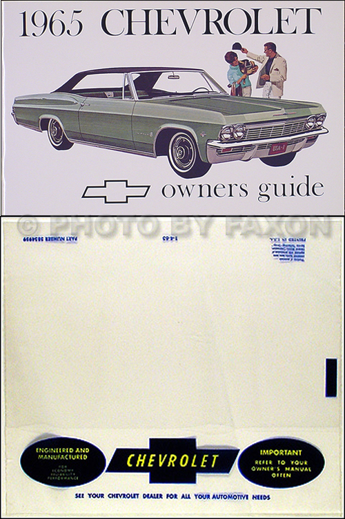 1965 Chevy Owner's Manual Reprint Impala, SS Caprice Bel ...