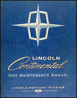 1965 Lincoln Continental Shop Manual Original