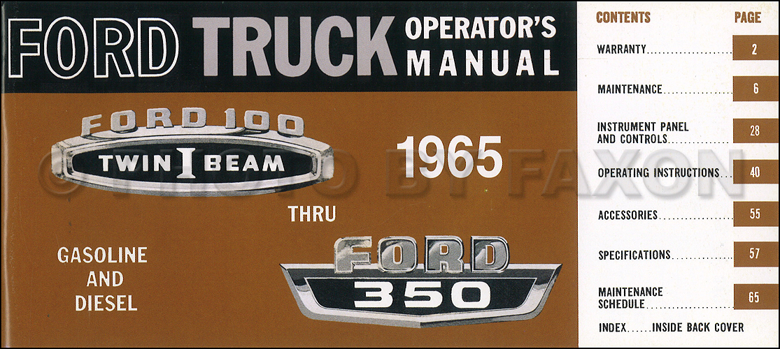ford    pickup truck owners manual reprint