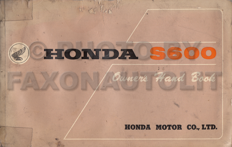 1965 Honda S600 Owner's Manual Original