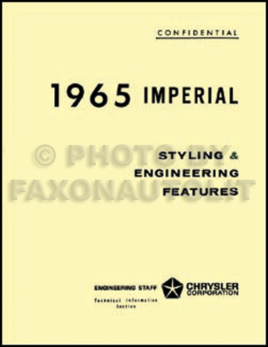 1965 Imperial Styling & Engineering Features Manual Reprint
