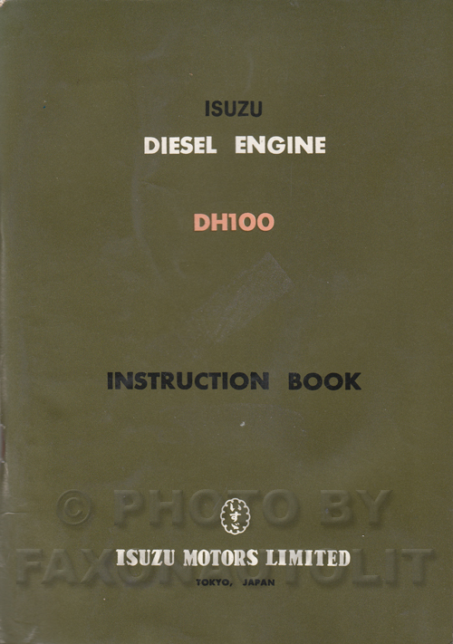 1965 Isuzu Diesel Engine Owner's Guide and Repair Manual Original DH100 10179 cc
