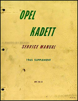1965 Opel Kadett Repair Manual Original Supplement