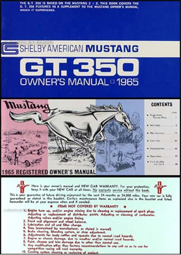1965 Shelby Mustang GT 350 Owner's Manual Reprint Kit