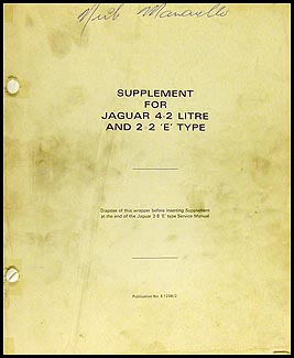 1966-1971 Jaguar XKE 2+2 Repair Manual Supplement Original