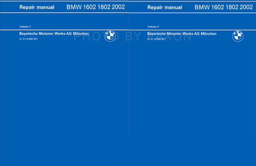 1966-1976 BMW 1502 1600 1800 2000 2002 Repair Shop Manual Reprint 2 Vol Set
