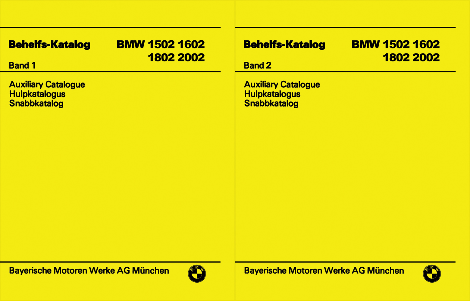 1966-1976 BMW 1502 1600 1800 2000 2002 Parts Book Reprint 2 Vol Set