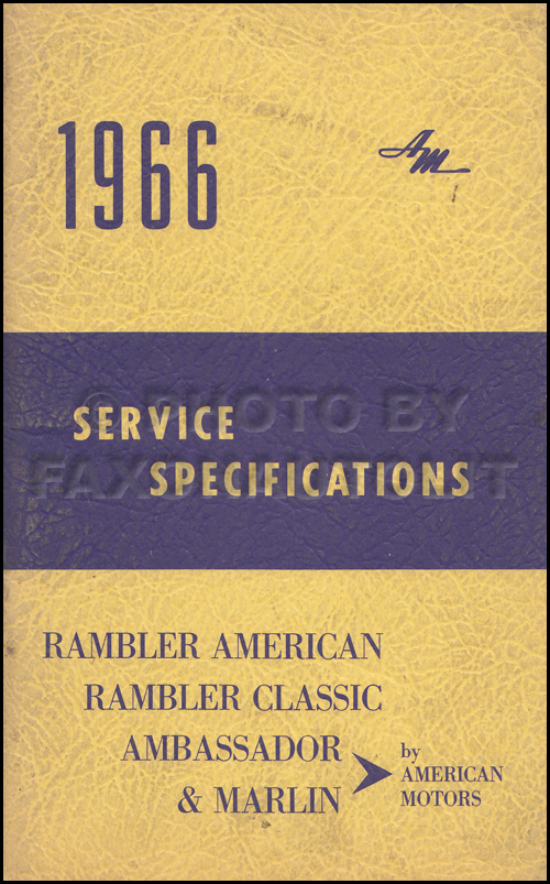 1966 AMC Service Specifications Manual