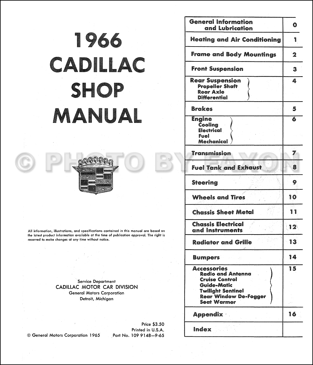 1966 Cadillac Repair Shop Manual Reprint 1994 Seville Wiring Diagram Table Of Contents