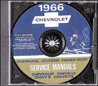 1966 Chevy Car CD-ROM Shop, Overhaul and Body Manuals