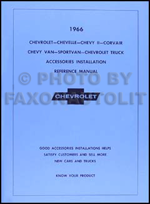 1966 Chevy Accessory Installation Manual Reprint - car, van, and truck