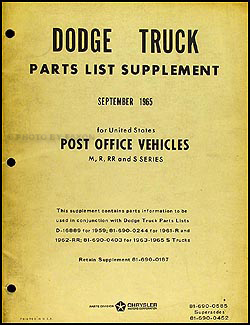 1959-1965 Dodge Post Office Vehicles Parts Book Original Supplement
