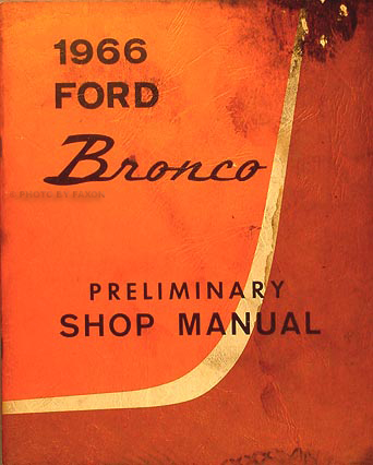 1966 Ford Bronco Repair Shop Manual Original Supplement