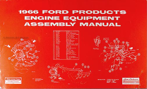 1966 Ford Lincoln Mercury Engine Equipment Assembly Manual Reprint