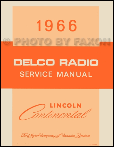 1966 Lincoln Continental Delco Radio Manual Original Canadian