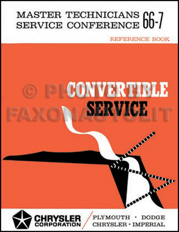 1966 Convertible Service Training Manual Reprint Coronet Belvedere II Satellite