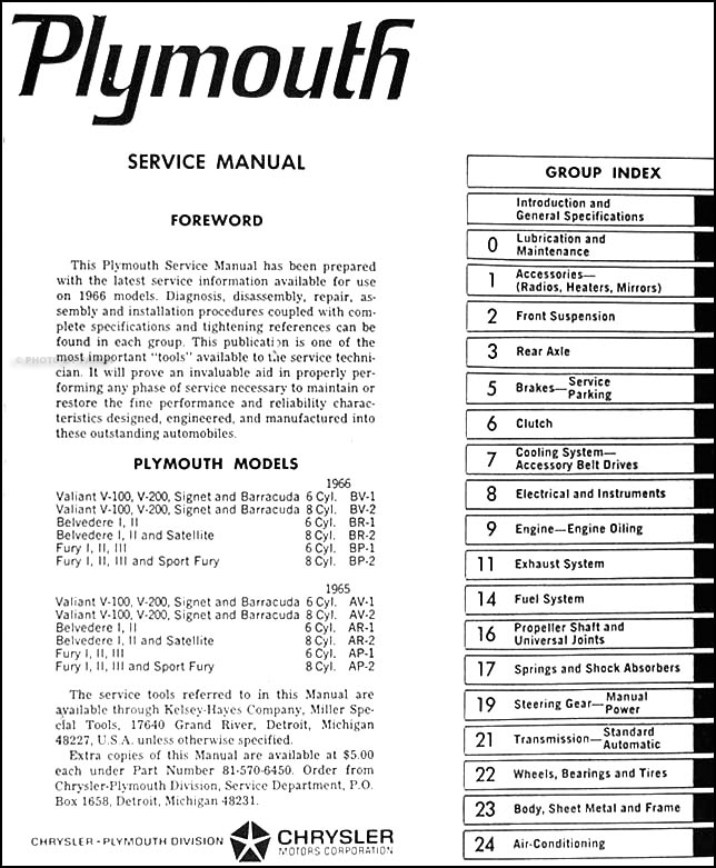 1966 plymouth shop manual original � table of contents