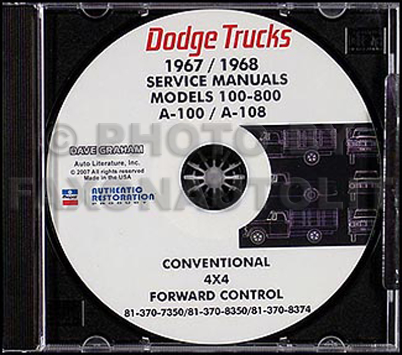 1967-1968 Dodge Truck CD-ROM Shop Manual