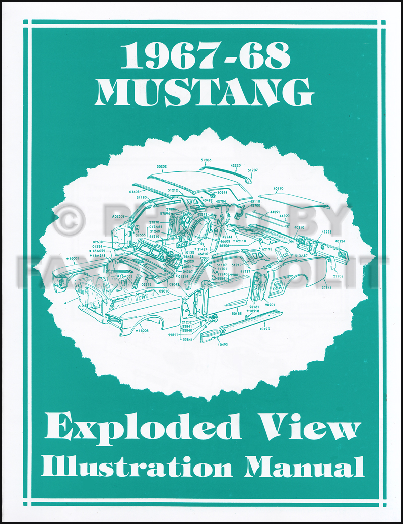1967-1968 Ford Mustang Parts Illustration Manual Reprint Exploded View