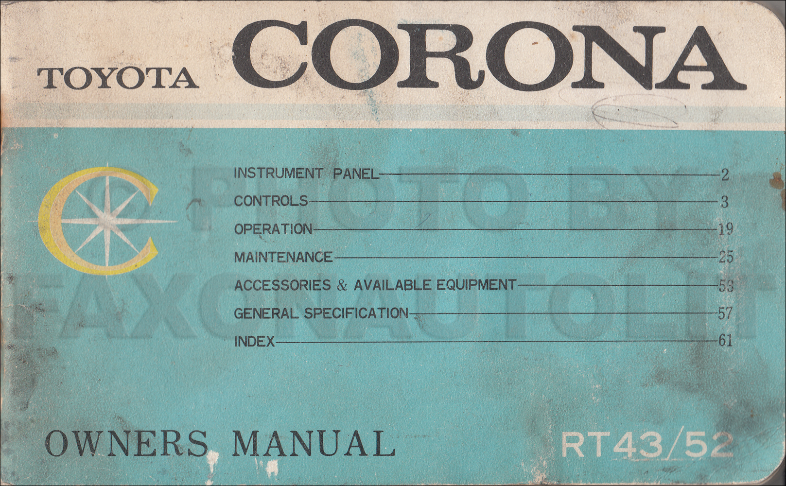 late 1967-early 1968 Toyota Corona Owner's Manual Original