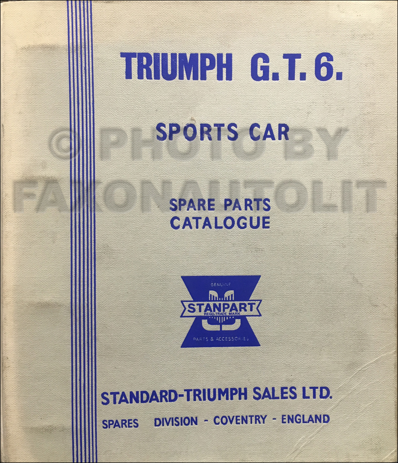 1967-1970 Triumph GT6 MK I & II Parts Book Original