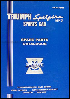 1967-1970 Triumph Spitfire Mark 3 Parts Book Reprint