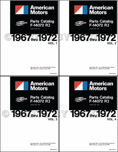 1967-1972 AMC Parts Book Reprint 4 Volume Set