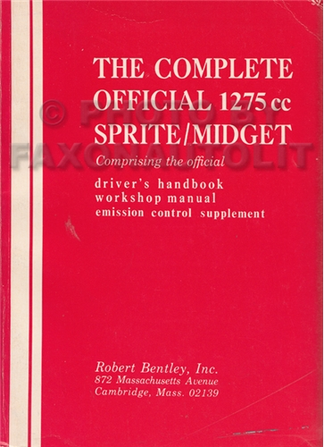 1967-1974 Austin Healey Sprite MG Midget Repair Shop Manual/Owner Manual
