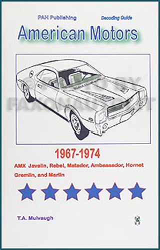 1967-1974 AMC Cars Numbers Decoder