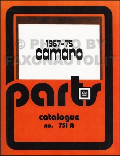 1967-1975 Chevrolet Camaro Parts Catalog Reprint Canadian