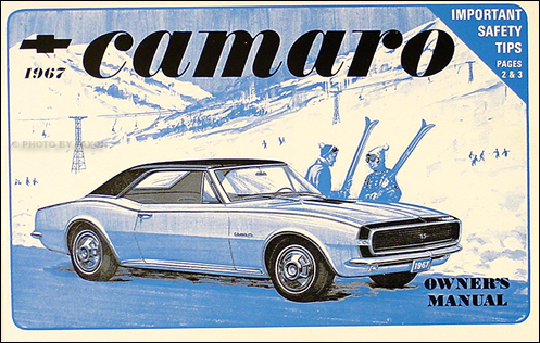 1967 Camaro Owner's Manual Reprint Z-28, Z28, RS, SS