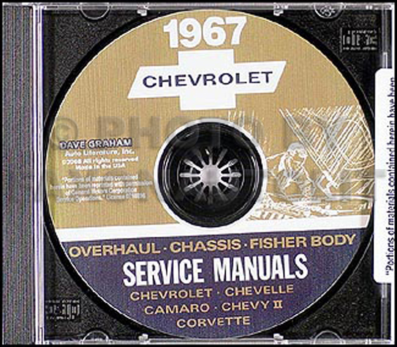 1967 Chevy CD-ROM Repair Shop Manual, Body and Overhaul Manuals