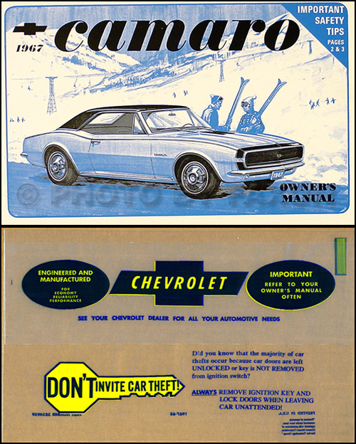 1967 Camaro & Z-28, Z28, RS, SS Owner's Manual Package Reprint
