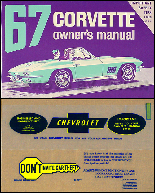 1967 Corvette Sting Ray Owner's Manual Package Reprint 67