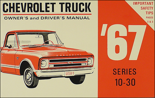 1967 Chevrolet Truck Owner's Manual Reprint Pickup Suburban P-Chassis
