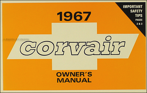 1967 Chevrolet Corvair & Monza Owner's Manual Reprint