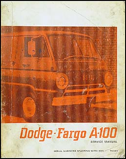 1967 Dodge & Fargo A-100 Van Repair Manual Canada Original