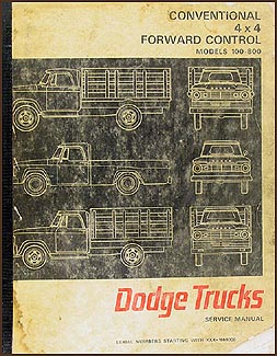1967 Dodge 100-800 Pickup Truck Repair Manual Original